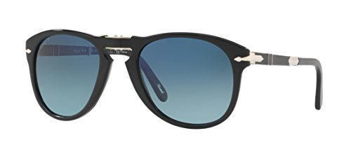 Persol Steve McQueen Polarized 714SM 95/S3 Folding Sunglasses Limited Edition Black Black Gradient Blue Polar - Sunglasses Persol Mcqueen