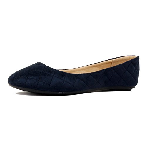 Guilty Shoes Womens Classic - Comfort Pointy Toe Slip On Ballet Flats Shoes Ankle & Bootie, 12 Navy Suede, 10 B(M) US by Guilty Shoes