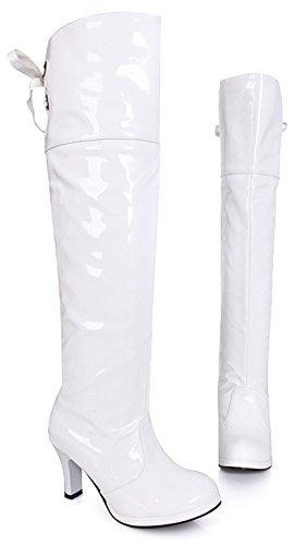 Aisun Damen Sexy Overknee Lack Kunstleder Plateau Trichterabsatz Schnürung Langschaft Stiefel Weiß