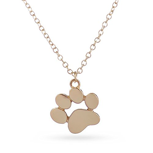 - METTU Dog Paw Print Love Heart Necklace for Women Animal Pet Cat Puppy Palm Paw Pendant Necklace,Infinite Electrocardiogram Clavicle Necklace for Girl's Graduation Gift (Claw-A01-G)