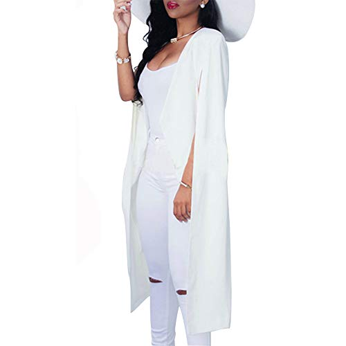 VERO VIVA Women's Open Front Cape Trench Duster Coat Longline Casual Blazer Suit(XL,White)