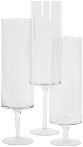 Koyal Wholesale Pillar Candle Hurricane Pedestal Holders Tall Glass Pedestal Candle Holders Centerpiece Wedding Glass Stem Hurricanes Set Of 3 Clear 3 7 X 11 8 13 7 15 7 Amazon Ae