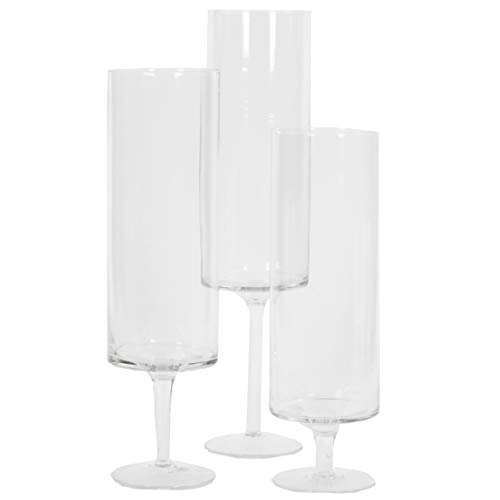 Koyal Wholesale Pillar Candle Hurricane Pedestal Holders, Tall Glass Pedestal Candle Holders Centerpiece, Wedding Glass Stem Hurricanes Set of 3 (Clear, 3.7 x 11.8, 13.7, ()
