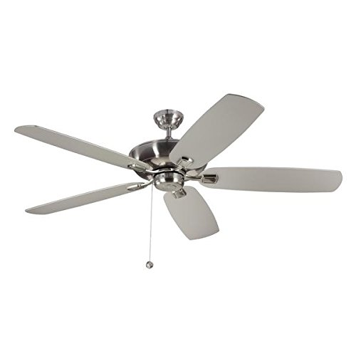 (Monte Carlo Colony Super Max 60-inch Brushed Steel Ceiling Fan | H: 11.5