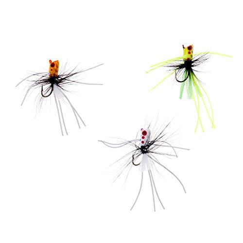 Ameglia Popper Flies Fly Hook Size 6# 10# Trout Bass Bug Popper Fly Fishing Flies (Size - 10# 3Pcs)