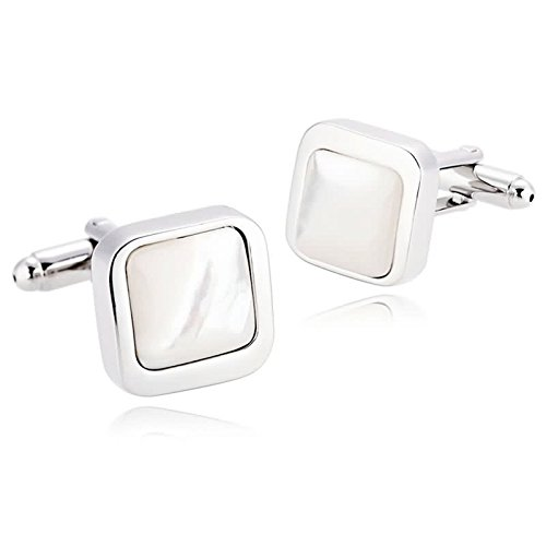 Gnzoe Stainless Steel Men's Silver White Fashion Rounded Shirt Cufflinks with Gift - Louis Cufflinks Vuitton