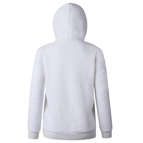 Pull Blanc Femmes Trydoit Neck Hoodie Blanche V Manches Sweat Longues Chic Casual Chemises Blouse xO4O1w