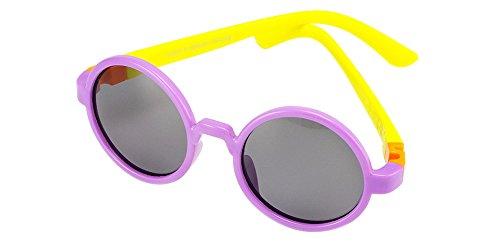 KINDOYO Unisexe Enfants Polarisées Lunettes de Soleil pour Garçons Filles Rond Monture en caoutchouc flexible Sport Lunettes Violet/Jaune