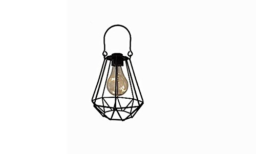 ReLive Outdoor Black Metal Hanging Lantern with Encased Solar LED Light Bulb (68007-4) by ReLive