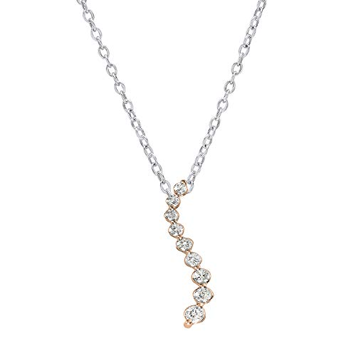 (Dazzlingrock Collection 0.16 Carat (ctw) 18K Round Diamond Ladies Journey of Life Pendant, Rose Gold)
