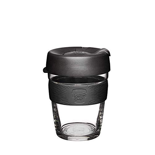 KeepCup 12oz Reusable Coffee Cup. Toughened Glass Cup & Non-Slip Silicone Band. 12-Ounce/Medium, Black