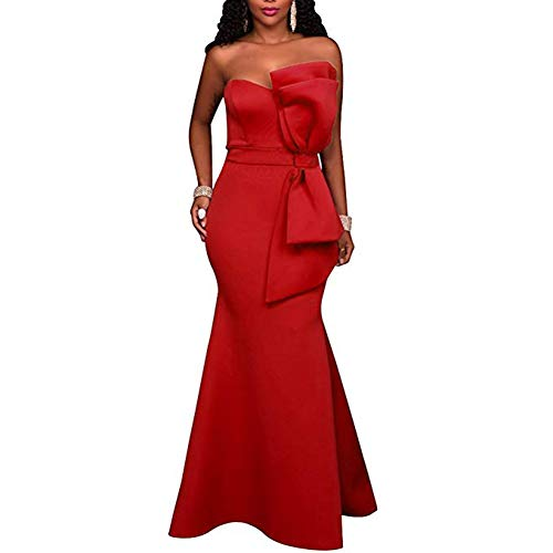 SEBOWEL Women Sexy Evening Dress Floor Length Off Shoulder Bow Applique Ball Prom Gowns Red XL (Slim Gown Prom)