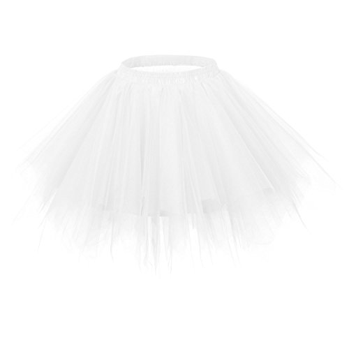 Ellames Women's Vintage 1950s Tutu Petticoat Ballet Bubble Dance Skirt White 2XL