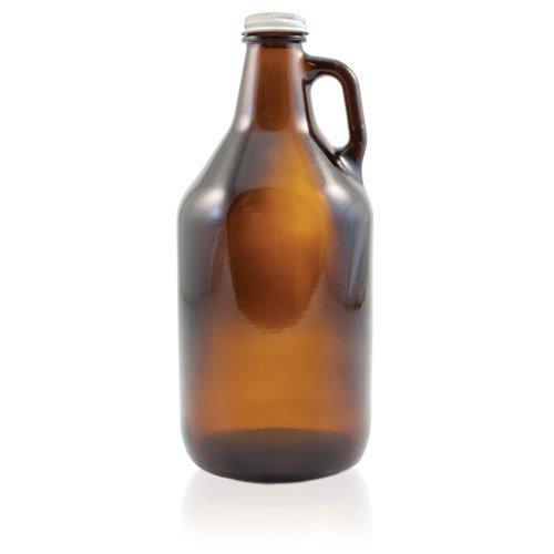 True Fabrications HOZQ8-1003 Amber Beer Growler, Reusable, Has Uv Protection, 1/2 gal, Brown (Pack of 4)