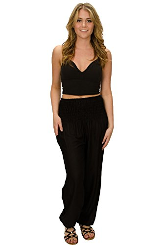 (Happy Trunks Harem Pants - S M L XL 2XL - Womens Plus Hippie Bohemian Yoga Elephant Pants (X Large, Black Solid))