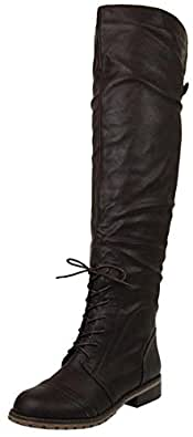 Women's Nature Breeze Lug-16 Dark Brown Pu Leather Thigh High Boots Shoes, Brown PU, 5.5