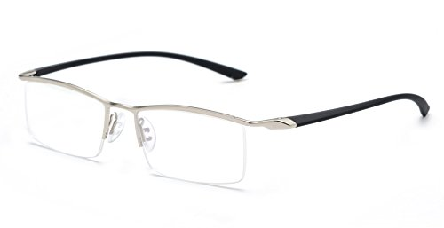 3510f9fdbaf JNS Titanium Semi-Rimless Eyeglasses Business Optical Frame Clear Lens  (Silver