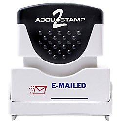 """ACCU-STAMP2 Message Stamp with Shutter, 2-Color, EMAILED, 1-5/8"""" x 1/2"""" Impression, Pre-Ink, Blue and Red Ink (035541)"""