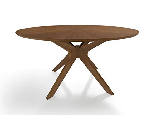 Limari Home Poype Collection Modern Style Walnut Finished Round 6 Persons 75″ Dining Table With Solid Wood Legs and Base, Brown