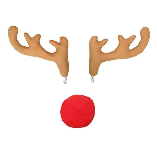 BESTOYARD Car Antlers Nose Funny Christmas Decorations Kit Vehicles 3Pcs (Light Tan) -