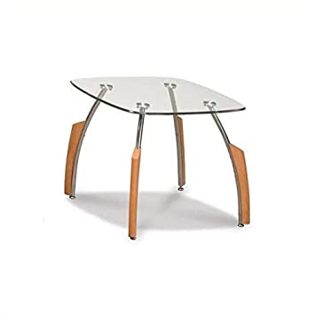 Global Furniture Clear Silver Occasional End Table with Black Legs