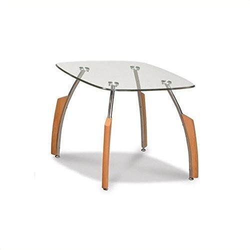 Global Furniture Clear Silver Occasional End Table with Mahogany Legs