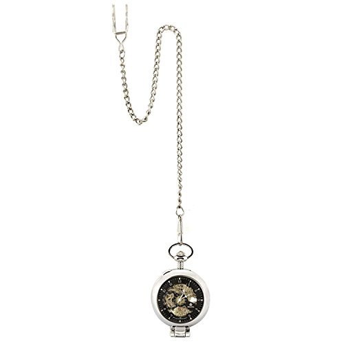 Carrie Hughes Vintage Open face Steampunk Skeleton Mechanical Pocket Watch with Chain CH79 by Carrie Hughes (Image #5)