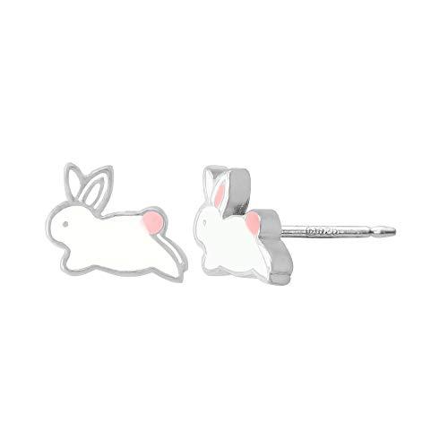 - Boma Jewelry Sterling Silver Enamel White Bunny Rabbit Stud Earrings