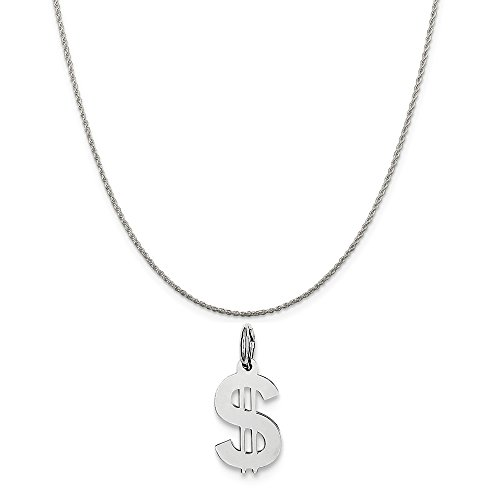 Mireval Sterling Silver Dollar Sign Charm on a Sterling Silver Rope Chain Necklace, 16