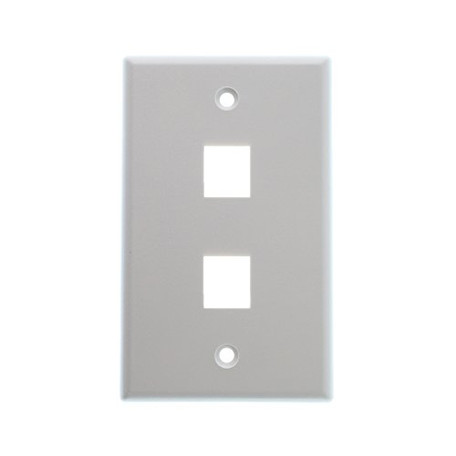 Dynacom 10600-P2-WH 2-Port Classic Single-Gang Network Wall-Plate, Face-Plate