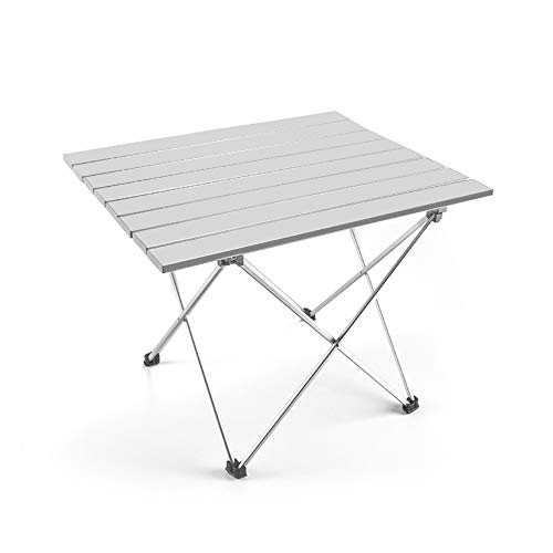 - Outry Lightweight Aluminum Folding Table, Portable Camp Table, Outdoor Picnic Camping Backpacking Beach Patio Collapsible Foldable Table (Silver, Large - Unfolded: 27