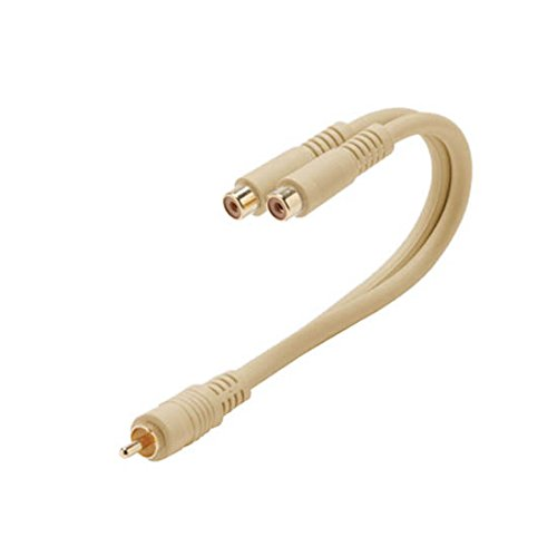 """6"""" Inch RCA Male to 2 Dual RCA Female Cable Python Y Adapter"""