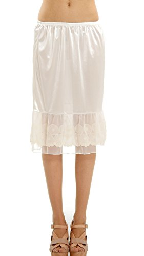 Melody [Shop Lev] Women's Circle Lace Satin Skirt Extender For Layering (Ivory, Small)