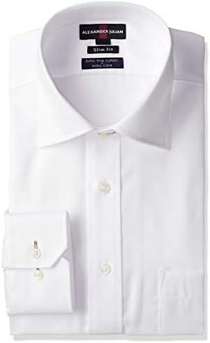 ビジネス ワイシャツ アレキサンダージュリアン 綿100 形態安定 80双 スリムフィット ワイドカラー シロ ドビー 長袖シャツ メンズ