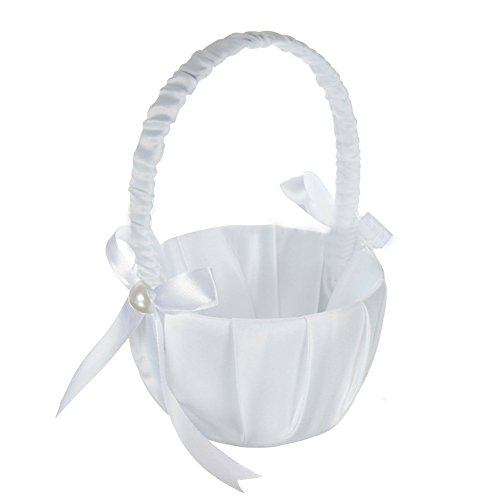TOOGOO(R) Romantic White Satin Bowknot PEARL Flower Girl Basket Wedding Ceremony Party