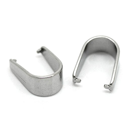 Bail Clip (Housweety 30PCs Silver Tone Stainless Steel Pinch Clips Bail Connectors Findings 13mmx10mm)