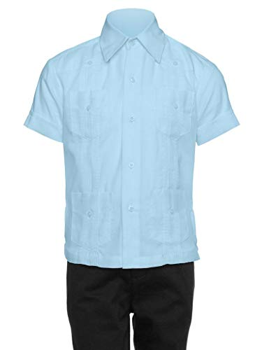 Gentlemens Collection Guayabera Shirt for Boys - Linen Look Cuban Shirt Great for Beach Wedding Light Blue Medium (Best Beach Wedding Attire)