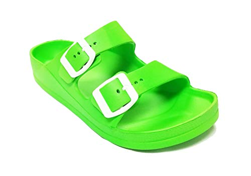 de09b73ecedd4 H2K Womens Comfort Slides Adjustable Double Buckle EVA Flat Slide Sandals  (Neon Green, 12)
