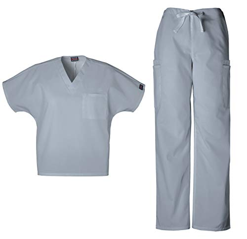 Cherokee Workwear Men's Dental/Medical Uniform Scrub Set - 4777 V-Neck Scrub Top & 4000 Drawstring Cargo Pants (Grey - Small/Small Tall)