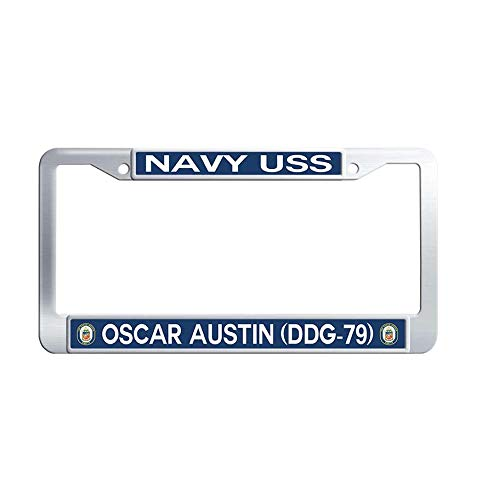 Nuoyizo Navy USS Oscar Austin DDG-79 Stainless Steel Car Auto Tag Frame Metal Waterproof License Frame(1 pic, 12.25