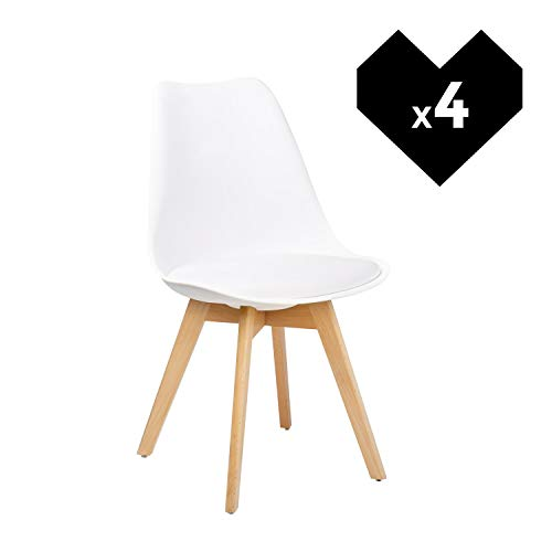 SKLUM Pack 4 Sillas Nordic Blanco - (Elige Color)