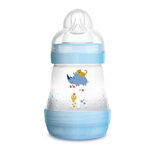 MAM Easy Start Anti-Colic Bottle 5 oz (1-Count), Baby Essentials, Slow Flow Bottles with Silicone Nipple, Baby Bottles for Baby Boy