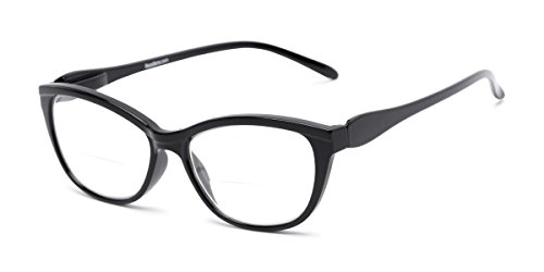Readers.com Bifocal Reading Glasses for Women: The Ambrosia Womens Bifocals - Stylish Cat Eye Black ()