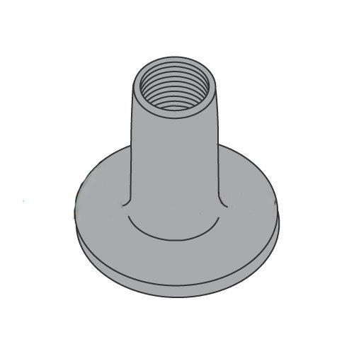 8-32 Round Base Weld Nuts/No Projections/Steel/Plain / 1/4'' Barrel Height / 0.718 Base Diameter (Carton: 1,000 pcs) by Newport Fasteners
