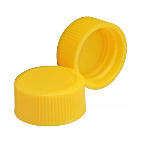 Wheaton 240706-05 Yellow Polypropylene Solid Top Screw Cap for Glass Diagnostic Bottles, 20-400 Size (Case of 300)