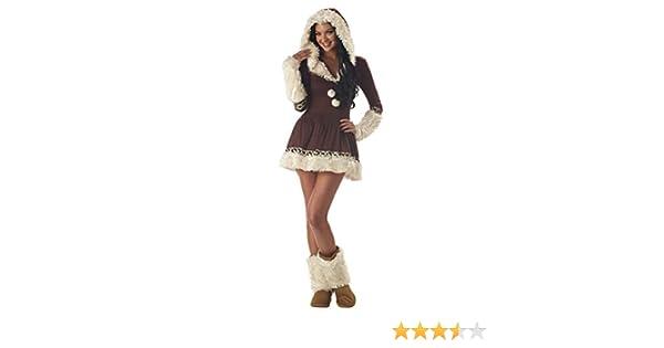 Disfraz de esquimal Inuit para mujer de color marrón y blanco ...