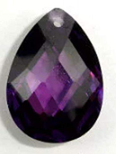 (Cubic Zirconia Beads, 13x18mm Faceted Pear Briolette Pendant Beads, 1 Piece #BXP_4693 (Amethyst) )