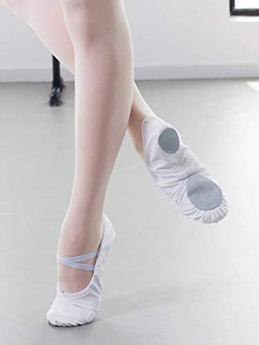 Leinen Kinder mit Geteilter Dancina Buntem Ledersohle Weiß Aus Ballettschuhe Erste wRX6dSHq
