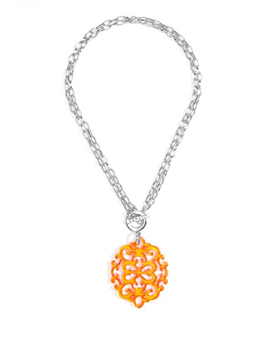 Pendant Orange Necklace - ZENZII Modern Damask Acrylic Resin Pendant Necklace with Convertible Toggle Chain (Silver Bright Orange)