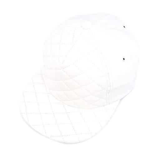 AcademyFits 5 Panel PU Leather Quilted Foam Strapback Cap Adjustable Fit Men Women Unisex Flat Visor Hat  4020
